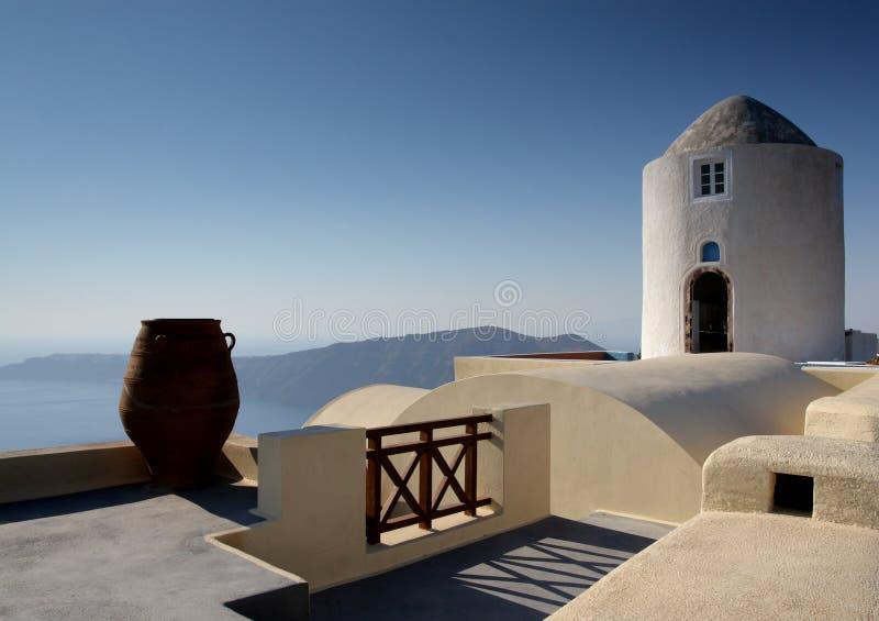 典型希腊磨房的santorini 库存照片