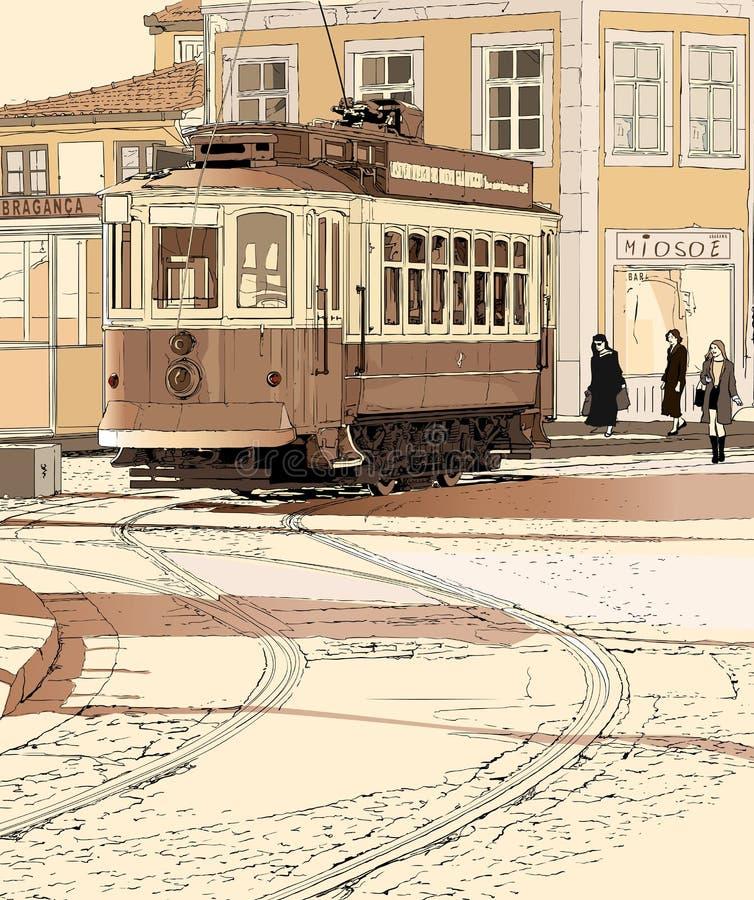 典型波尔图葡萄牙的电车轨道 库存例证