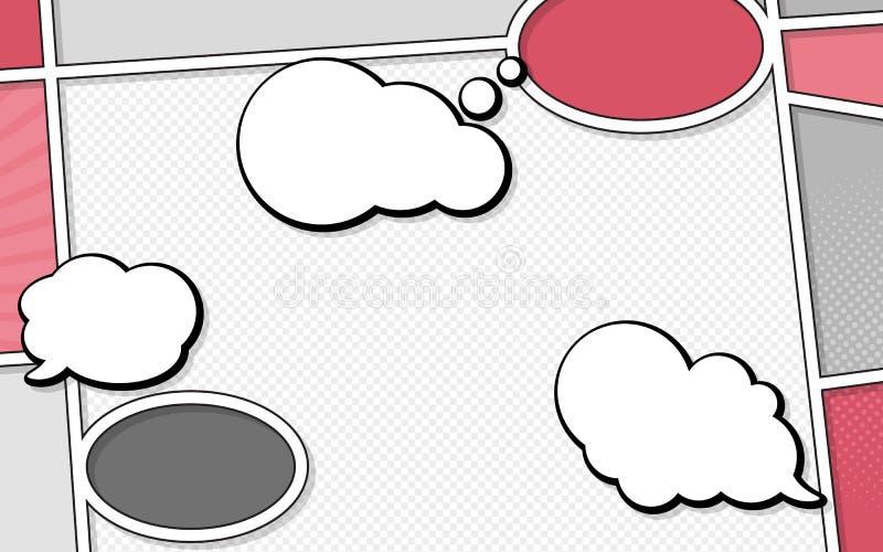 典型漫画网页语音气泡矢量模型 流行艺术风格 彩色矢量图 亮片 向量例证