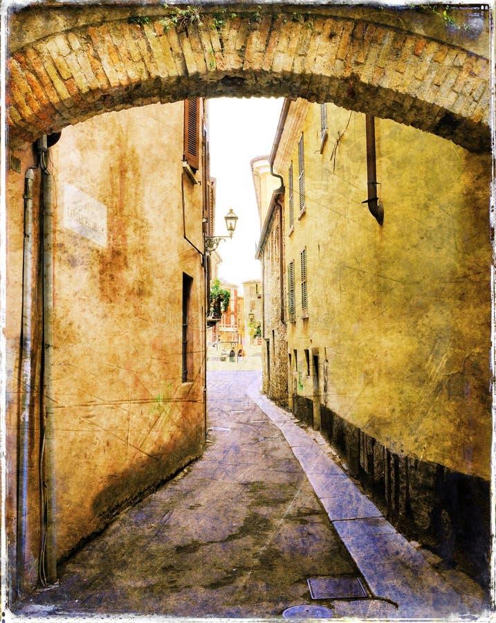 典型的中世纪意大利街道 向量例证