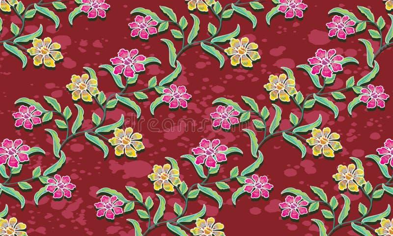 典型的印度尼西亚蜡染布主题各种各样的设计与花卉样式混合以一种抽象形式 库存例证