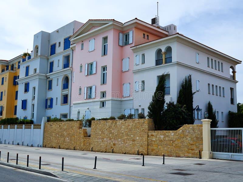 典型的地方地中海塞浦路斯的样式房子塞浦路斯 免版税图库摄影