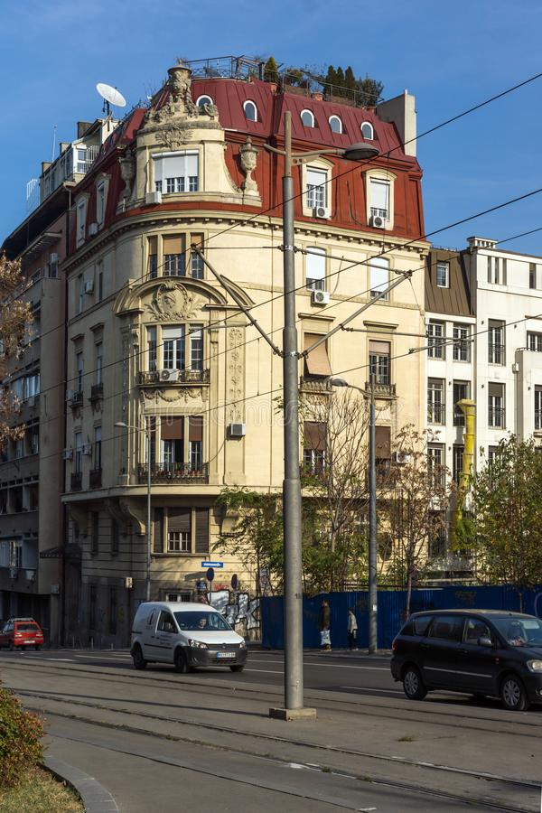 典型的大厦在贝尔格莱德,塞尔维亚的中心  库存图片