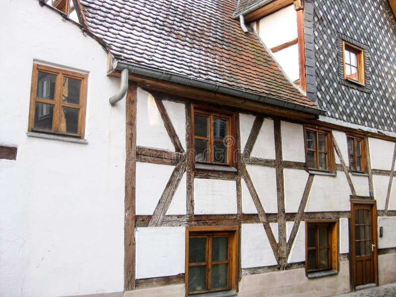 典型的巴法力亚fachwerk房子,菲尔特,德国 免版税图库摄影