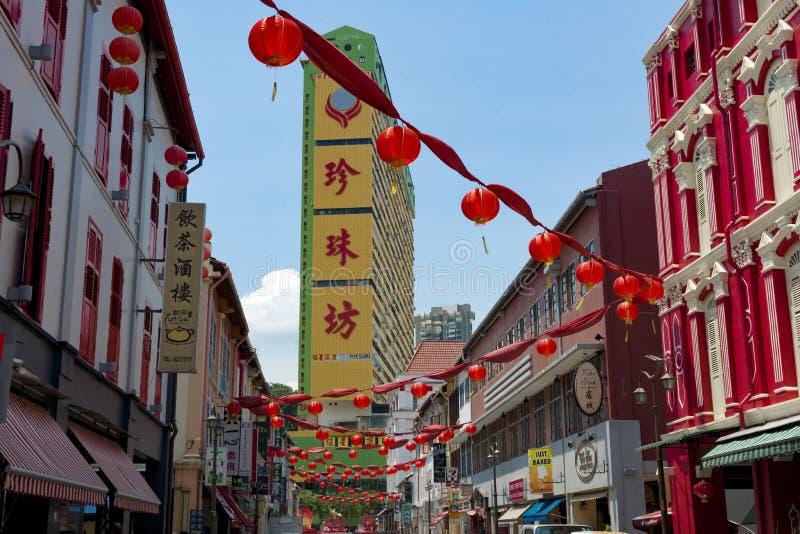 典型的房子唐人街,红色灯笼,历史的建筑学,新加坡 免版税库存图片