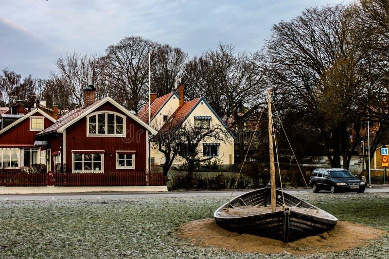 典型的瑞典村庄 免版税库存照片