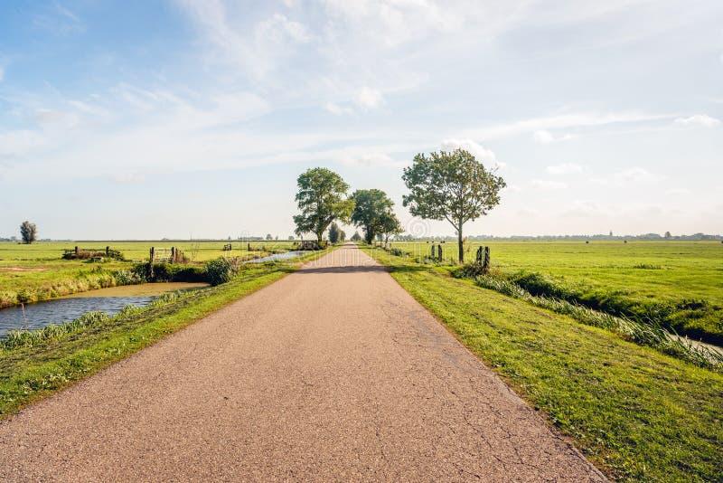 典型的荷兰开拓地风景在荷兰地区Alblasserwaar 免版税库存图片