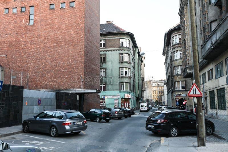 典型的街道在布达佩斯 免版税图库摄影