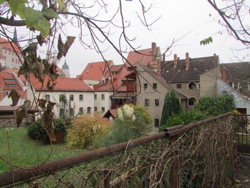 典型的角落的老在秋天泥工,德国 免版税库存照片