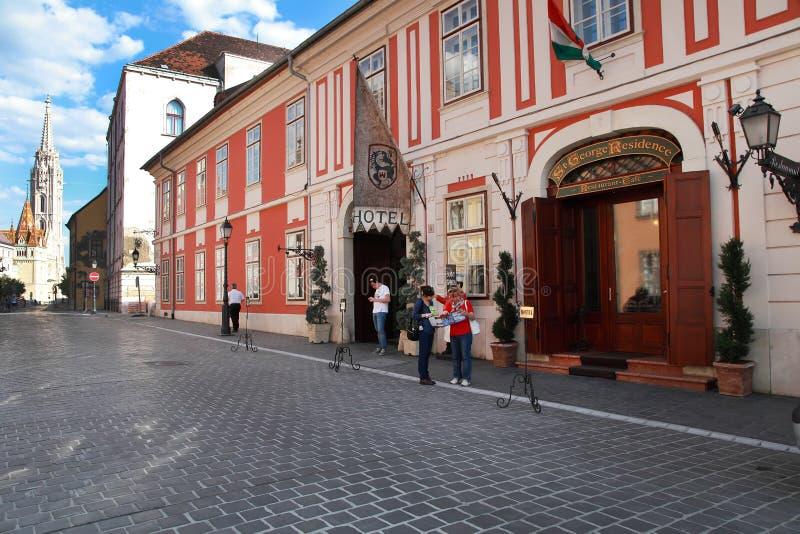 典型的都市神色 美丽如画的街道在Buda 布达佩斯,匈牙利 库存图片
