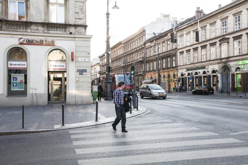 典型的treet在布达佩斯 免版税库存图片