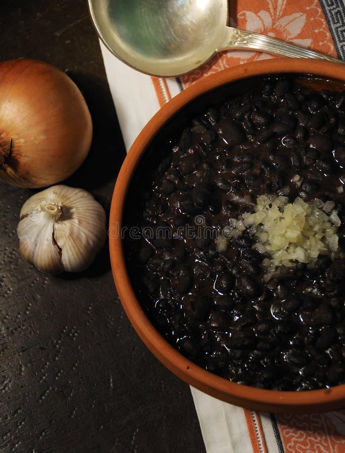 典型豆黑色古巴的食物 库存图片