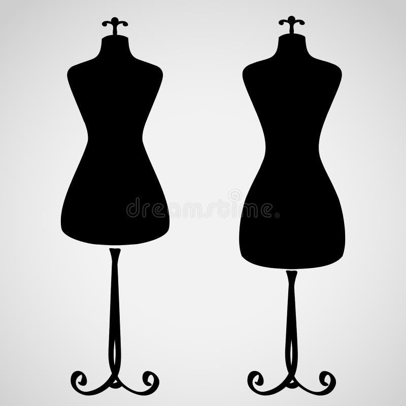 经典女性时装模特剪影 库存例证