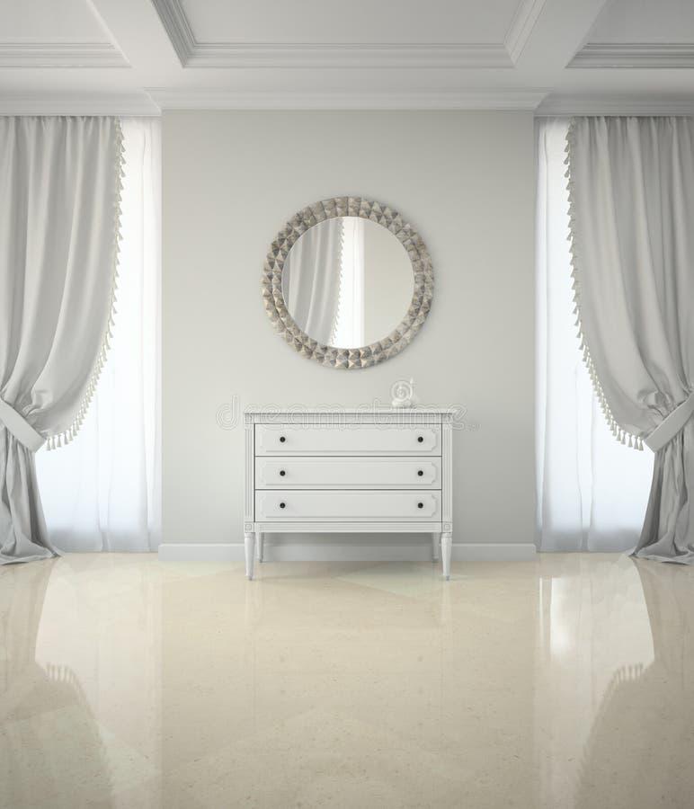 经典室内部有圆的镜子的和内阁3D回报 皇族释放例证