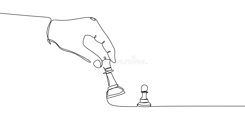 典当和主教或女王/王后棋子被在白色背景的一条黑线画 实线图画 向量 库存例证