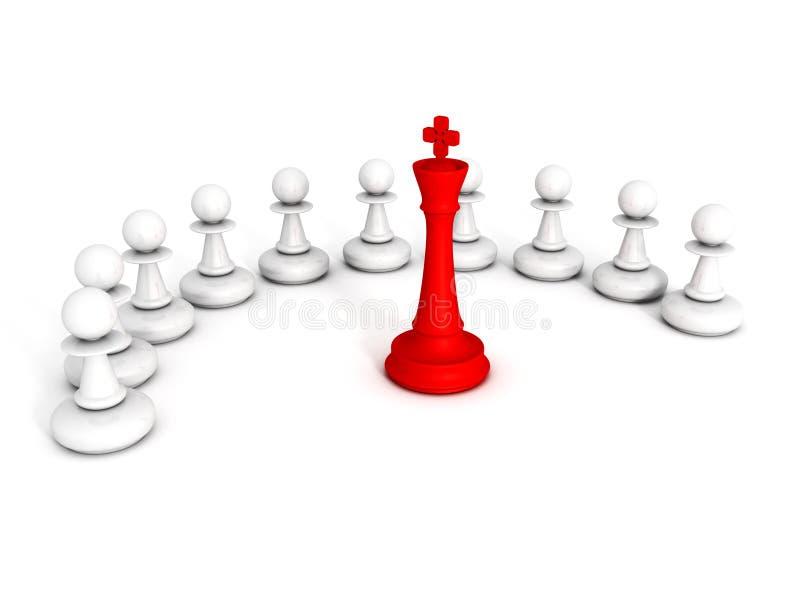 典当队红色棋国王领导  库存例证