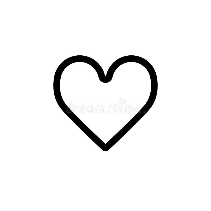 经典心脏传染媒介象 黑白爱例证 心脏概述线性象  库存例证