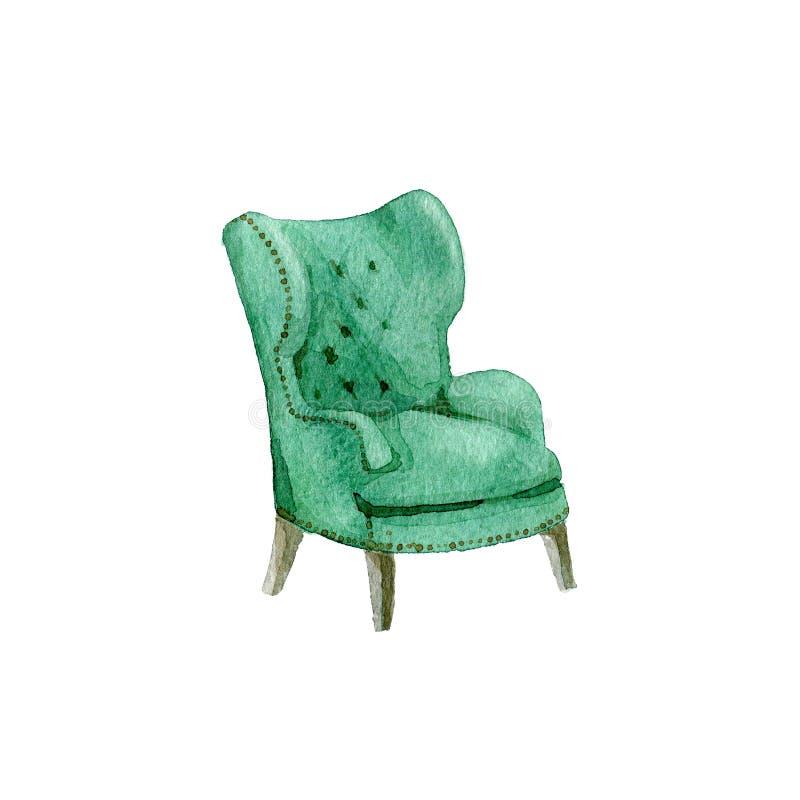 经典扶手椅子,水彩例证 库存例证