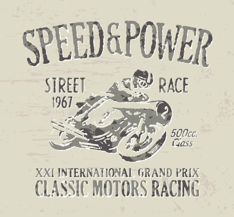 经典摩托车赛跑 向量例证