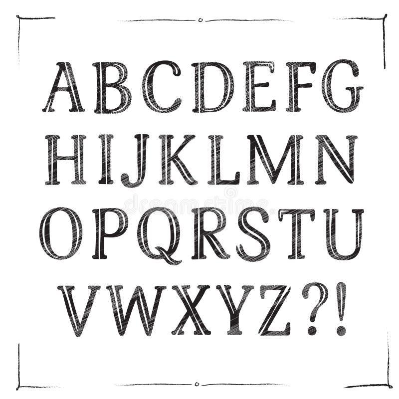 经典木炭向量字体 库存例证