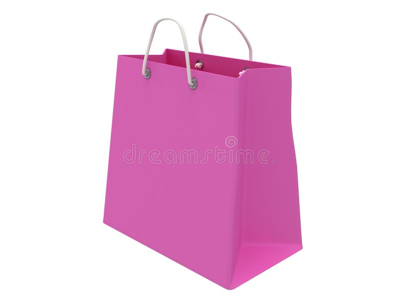 经典桃红色购物袋(3d回报) 皇族释放例证