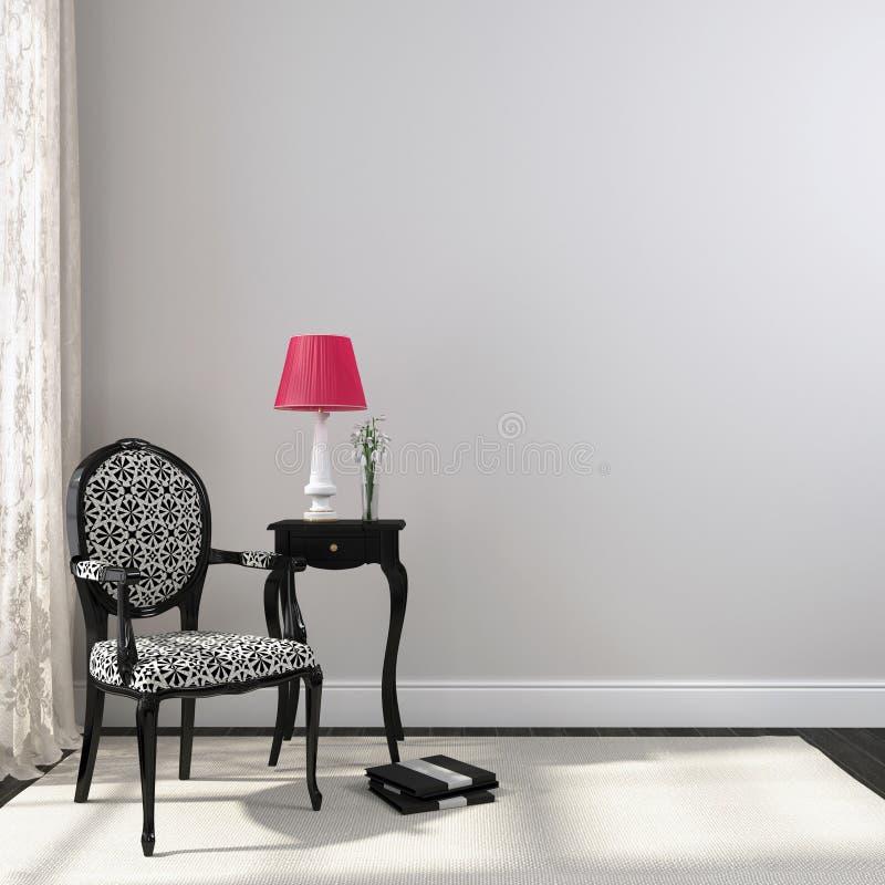 黑经典椅子和nightstand 库存例证