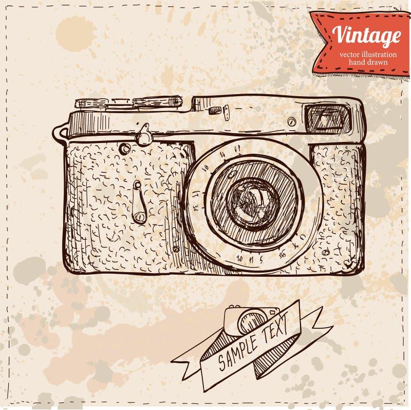 经典照相机动画片传染媒介和例证,手拉,剪影样式 向量例证