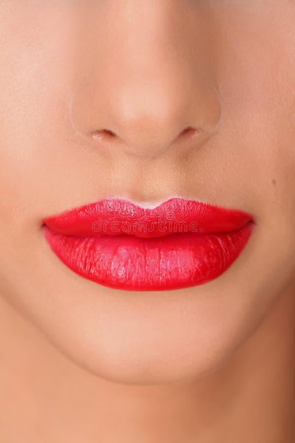 经典红色嘴唇 关闭 免版税图库摄影