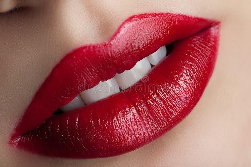 经典红色嘴唇 免版税库存照片