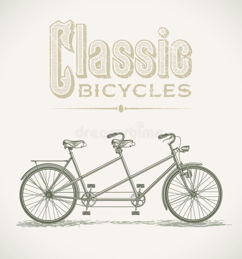 经典纵排自行车 向量例证