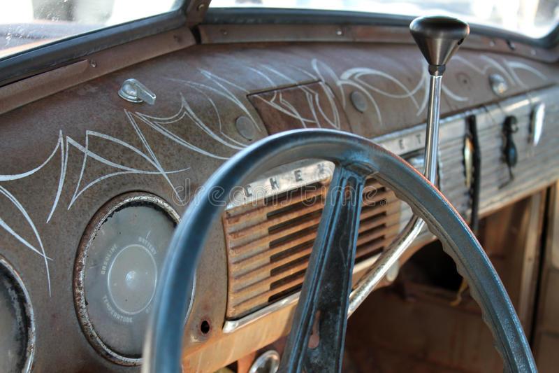 经典美国卡车内部 库存照片