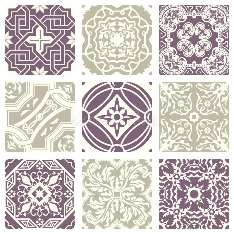 经典葡萄酒典雅的淡色紫罗兰色无缝的抽象样式29 向量例证