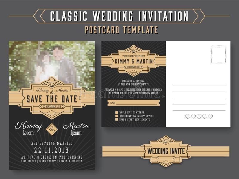经典葡萄酒婚礼邀请卡片设计 向量例证