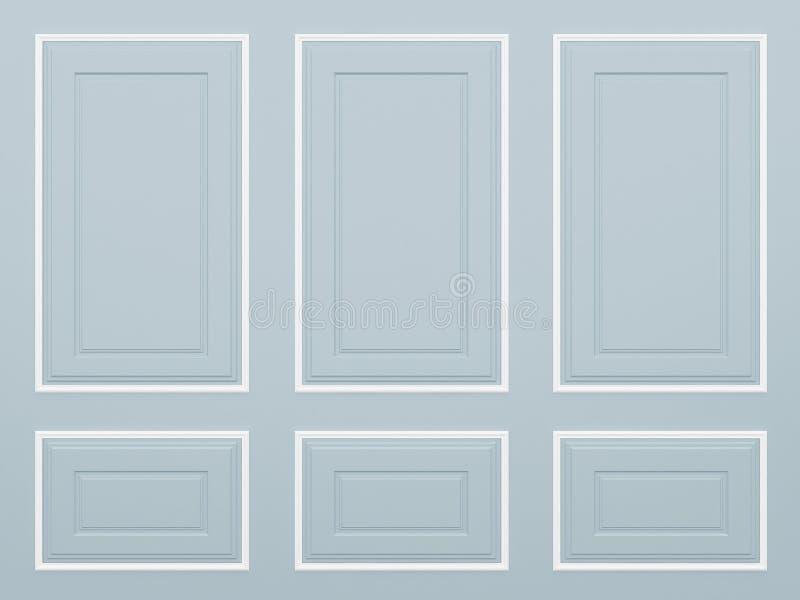 经典蓝色墙壁, 3d回报 免版税图库摄影