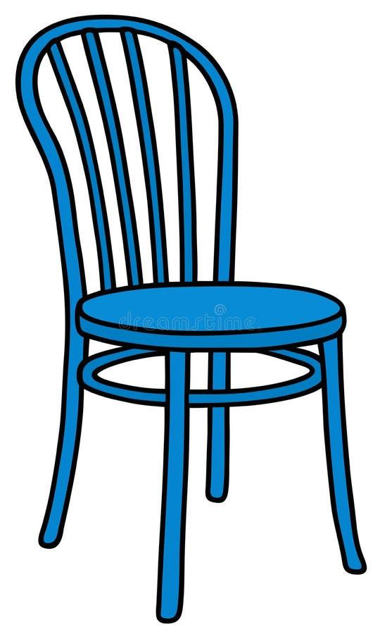 经典蓝色木椅子 皇族释放例证