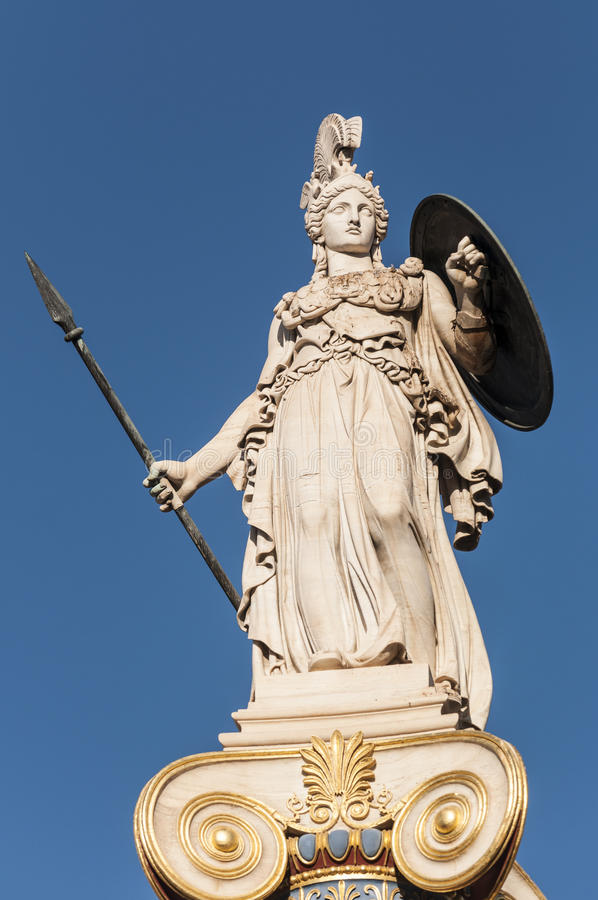 经典雅典娜雕象 免版税库存照片