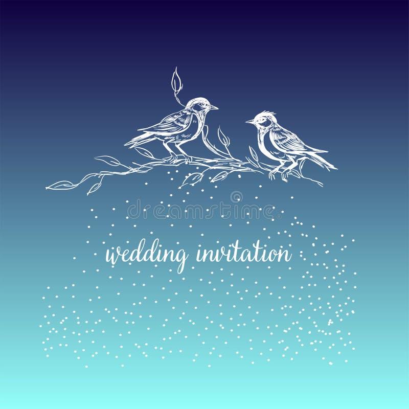 典雅和逗人喜爱的例证 鸟坐每个分支 打印纺织品和工业目的 并且美丽 向量例证