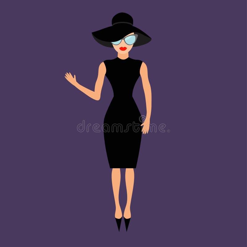 黑典雅帽子和太阳镜挥动的妇女 富有和美丽的名人女孩 皇族释放例证