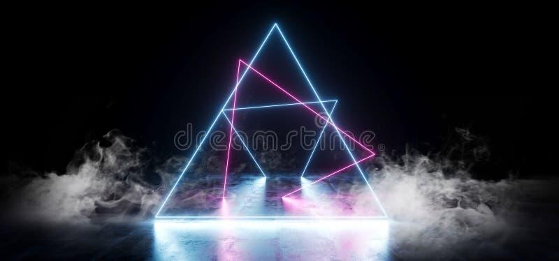 典雅的三角塑造霓虹萤光减速火箭的激光的烟带领了在地下霍尔的展示阶段充满活力的蓝色紫色发 库存例证