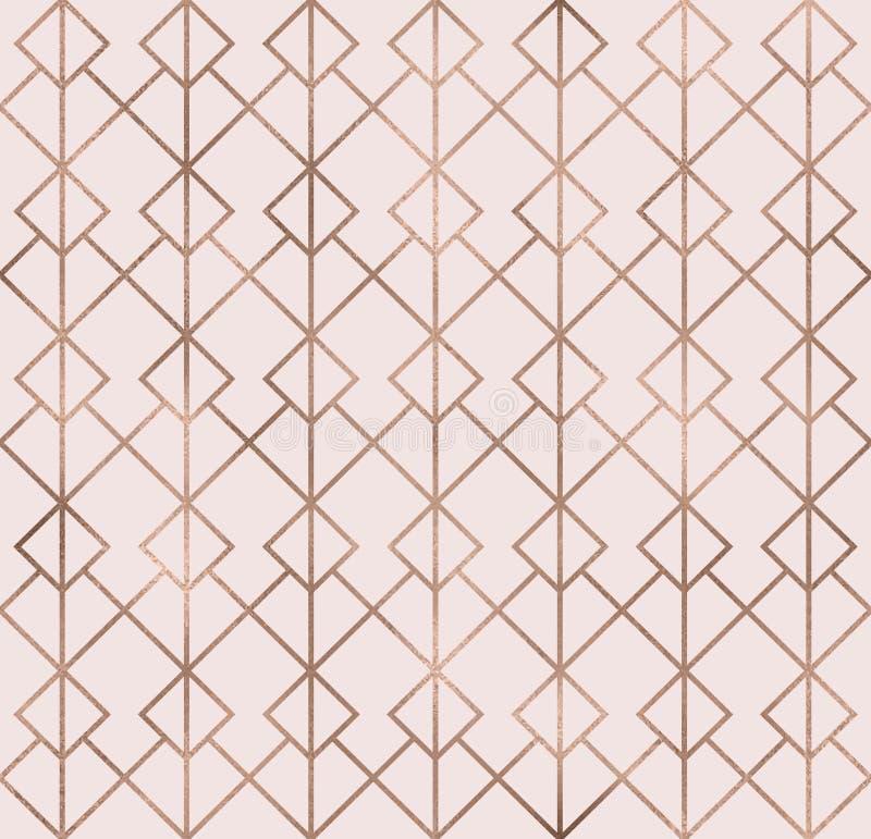 典雅的与玫瑰色金箔纹理的闪闪发光几何无缝的样式 时髦闪烁墙纸 现代优质别致的背景 库存例证