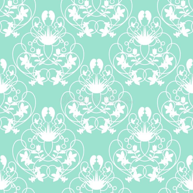 典雅的与精美漩涡的锦缎薄菏无缝的传染媒介背景 库存例证