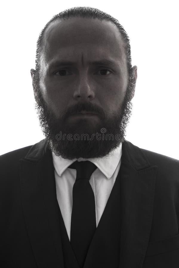典雅的严肃的有胡子的人画象 库存照片