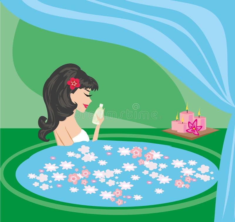 典雅的享用的女孩俏丽的温泉 皇族释放例证