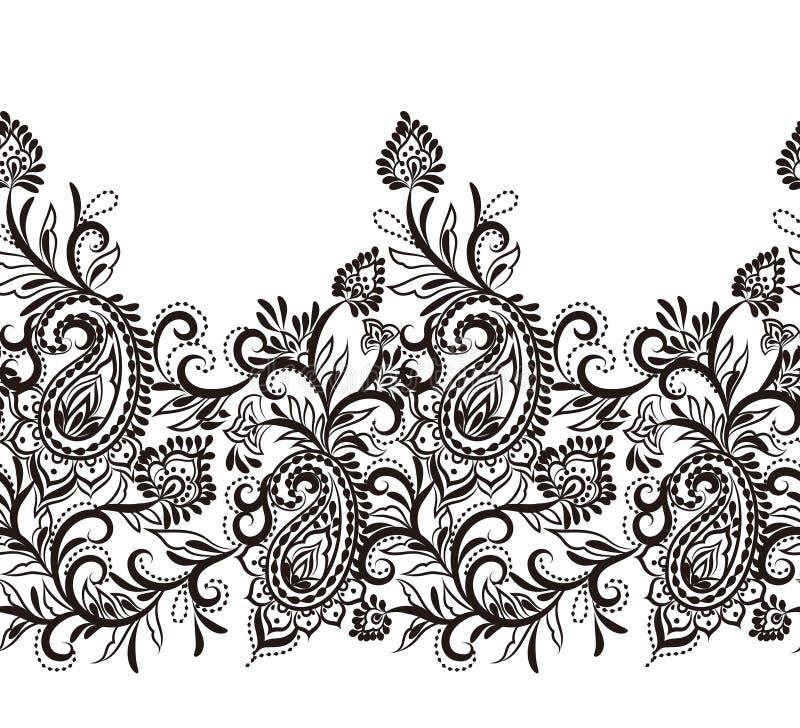 典雅的佩兹利无缝的边界装饰设计元素 库存例证