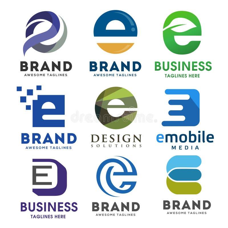 典雅的信件e商标传染媒介集合, 向量例证
