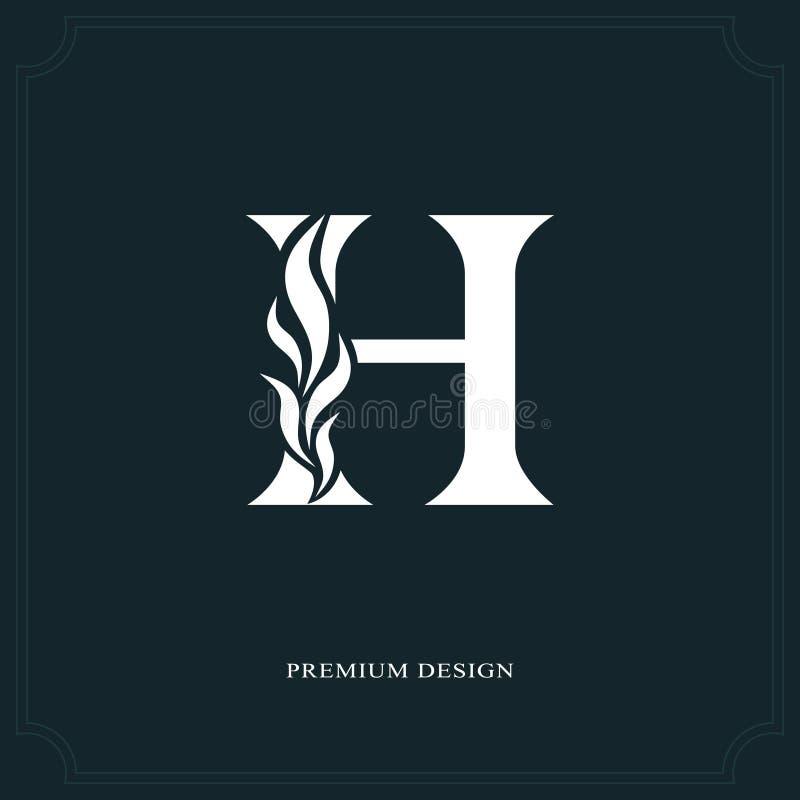 典雅的信件H 优美的皇家样式 书法美好的商标 葡萄酒书设计的,名牌,事务加州被画的象征 向量例证