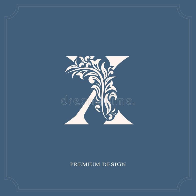 典雅的信件x 优美的皇家样式 书法美好的商标 葡萄酒书设计的,名牌,事务加州被画的象征 库存例证