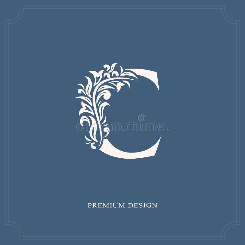 典雅的信件C 优美的皇家样式 书法美好的商标 葡萄酒书设计的,名牌,事务加州被画的象征 库存例证