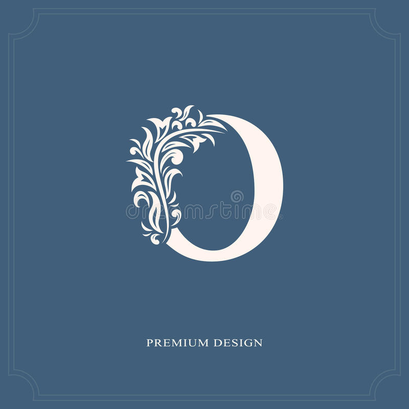 典雅的信件O 优美的皇家样式 书法美好的商标 葡萄酒书设计的,名牌,事务加州被画的象征 皇族释放例证