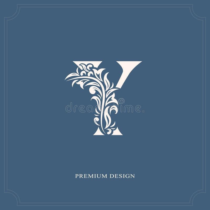典雅的信件Y 优美的皇家样式 书法美好的商标 葡萄酒书设计的,名牌,事务加州被画的象征 向量例证
